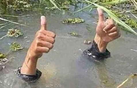 two arms making thumbs up coming out of the water