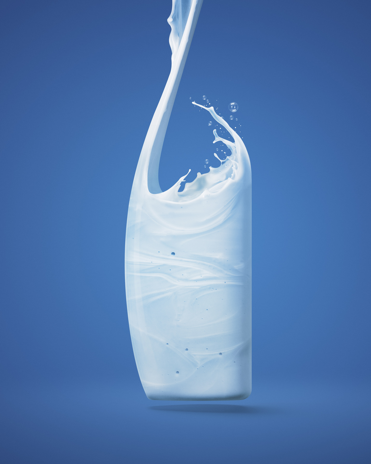 liquid shampoo falling from the sky into the shape of a bottle on blue background by Mathieu Levesque