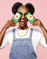 Simon Duhamel's shot for Fizz: girl with mirror eggs as eyes