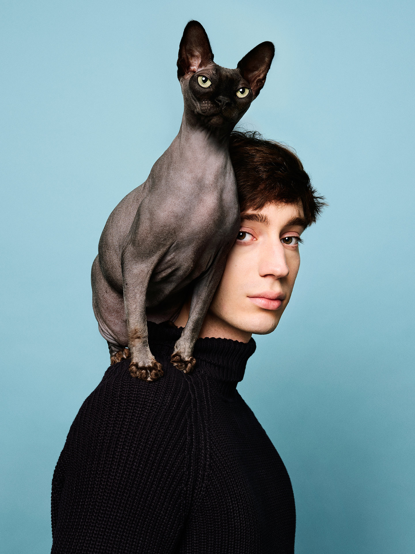 portrait of Theodore Pellerin with hairless cat on his shoulder light blue background by Jocelyn Michel for Journal de Montréal
