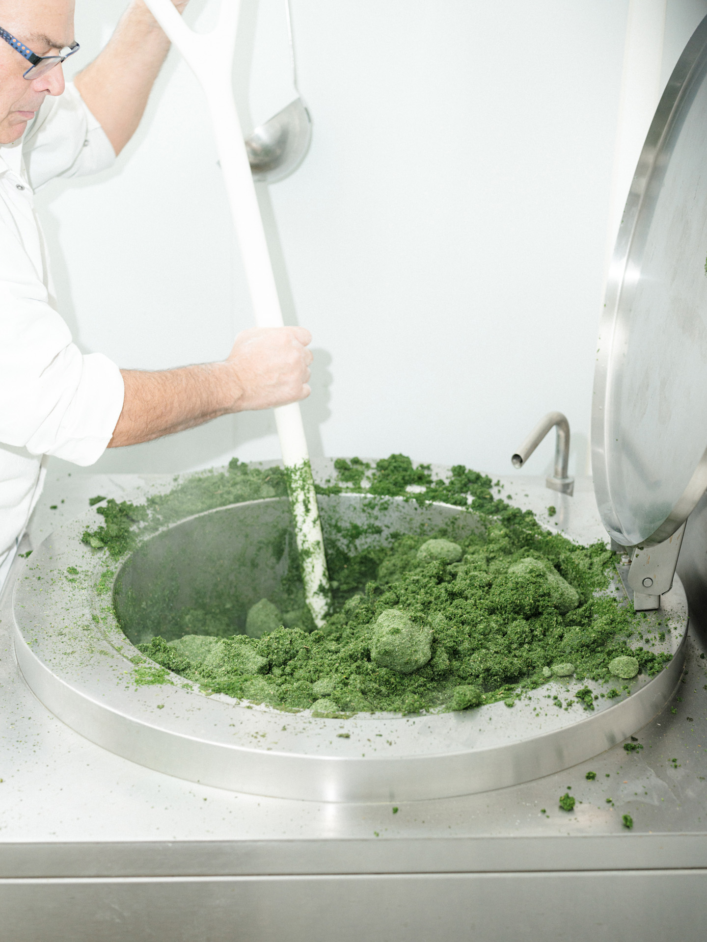 worker mixing green spinach powder in machine by Alexi Hobbs in Auvergne for Reflets de France