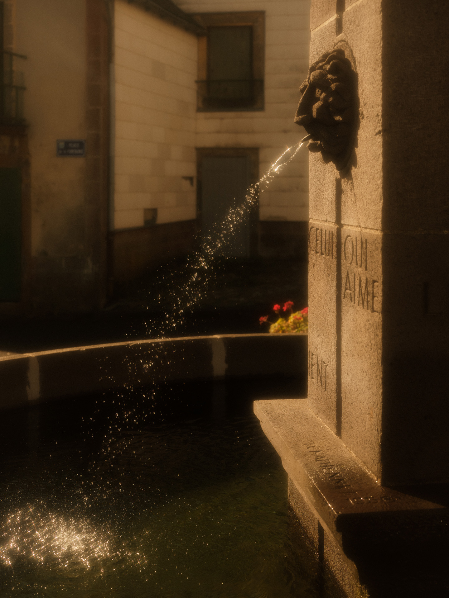 fountain with lionhead spitting water in the sun by Alexi Hobbs in Auvergne for Reflets de France