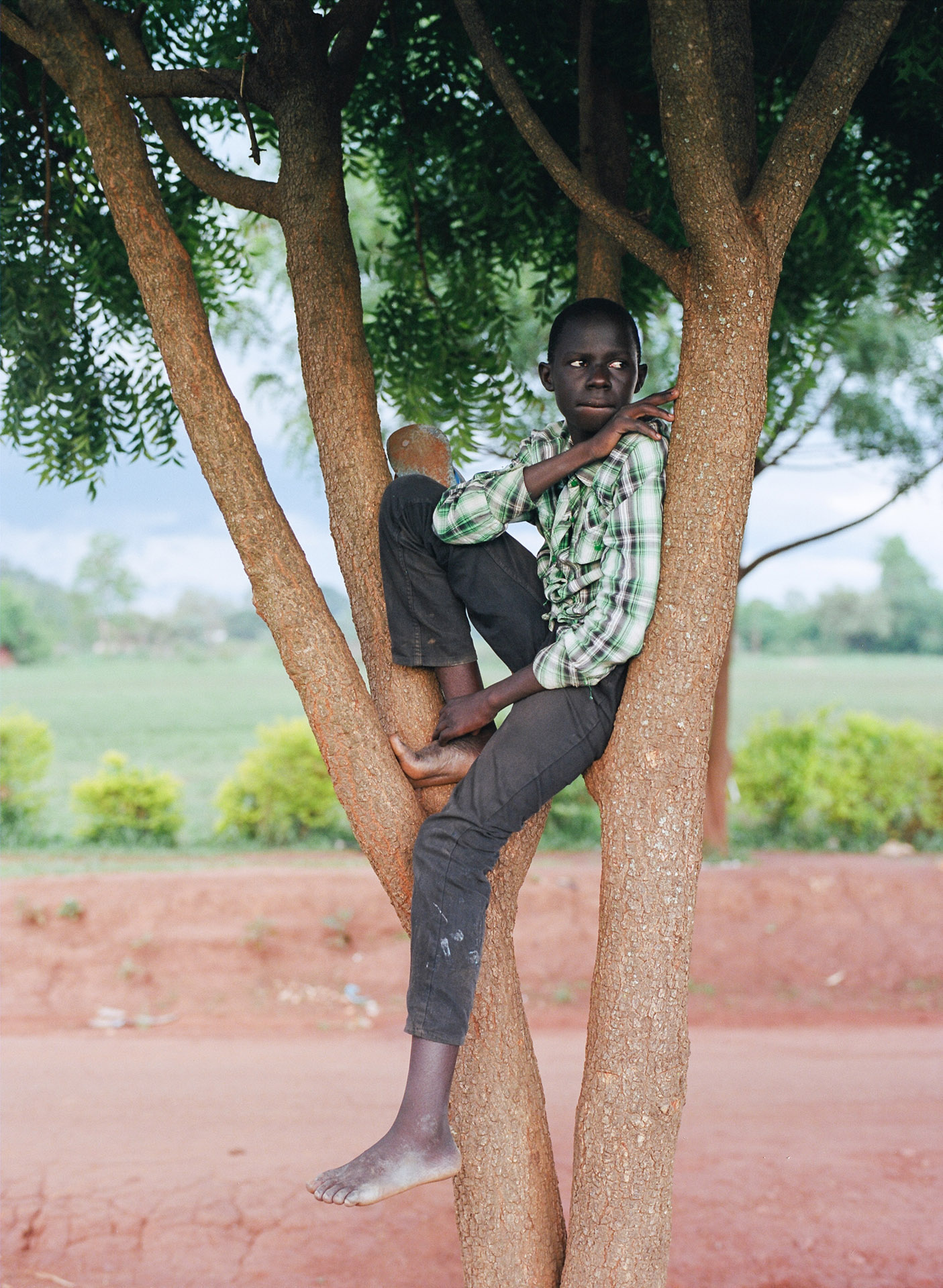 young black boy sitting in tree looking away by Alexi Hobbs in Uganda for Football for good with Sportsnet