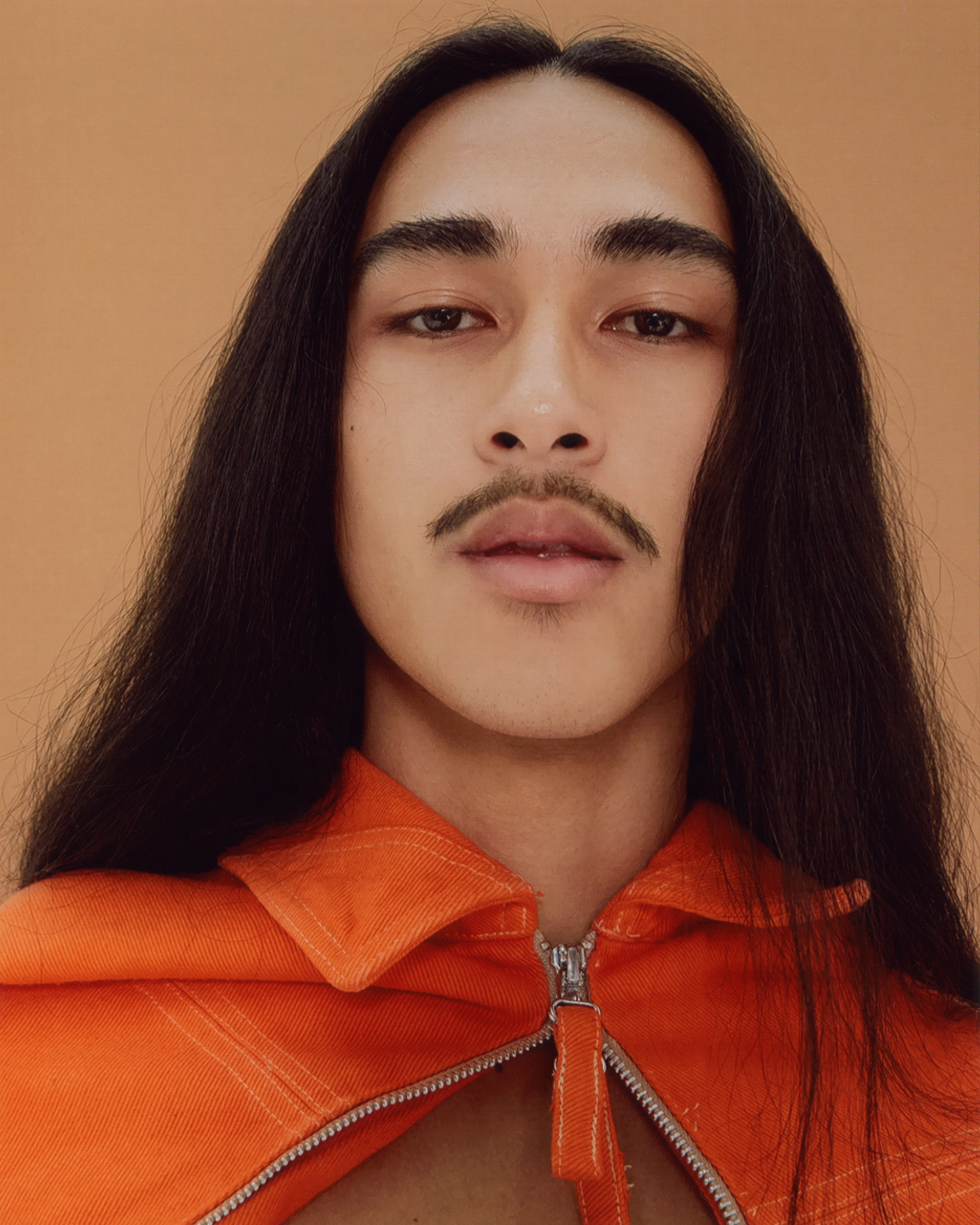 male model with long hair and mustache by Oumayma B Tanfous for Document Journal barragannnn casting summer spring 2020