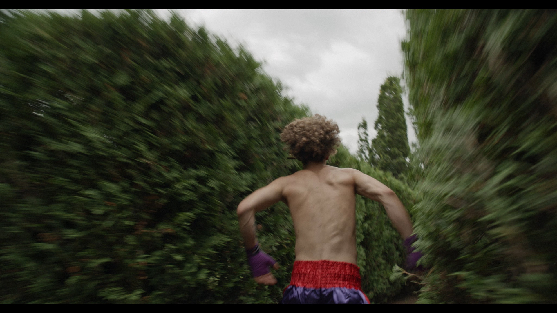 actor running in a vegetal labyrinth in boxing gear looking beaten up and panicked for Alaclair Ensemble hip hop collective music video Felix filmed by Les Gamins featuring rapper Souldia