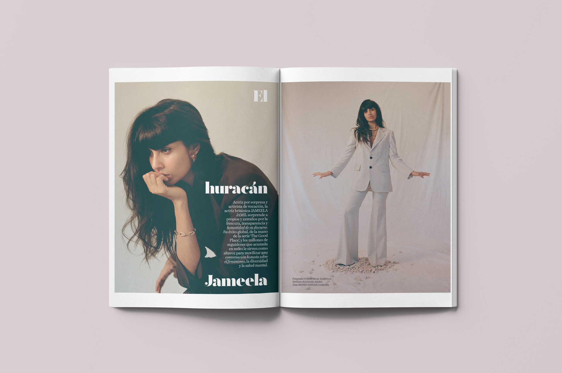 mockup layout of Vogue Spain issue featuring actress Jameela Jamil by Lisa Doré