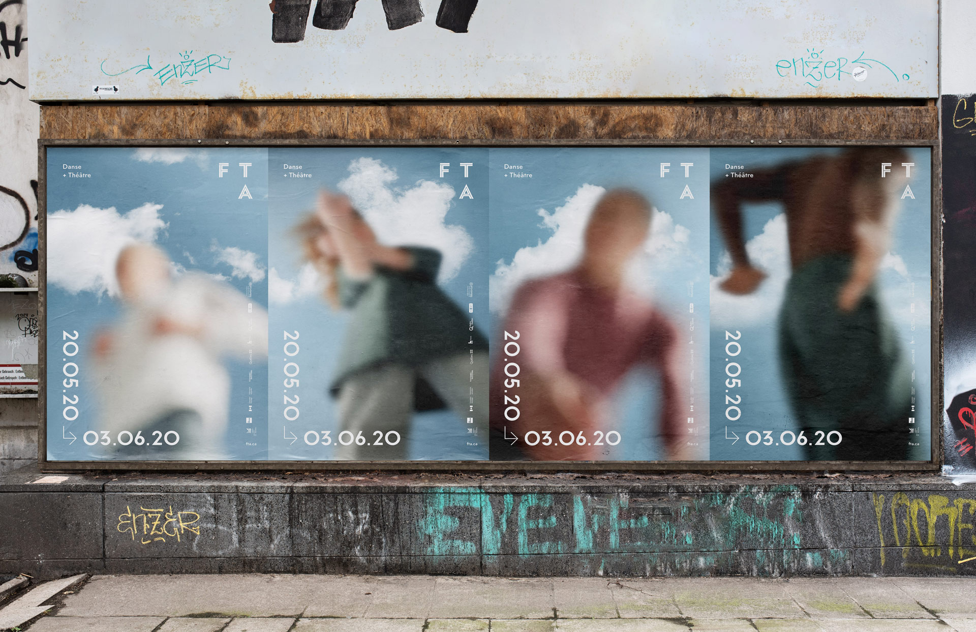 picture in street of campaign posters of blurred picture of dancers against focused blue sky for the FTA by Maxyme G Delisle with Maison W