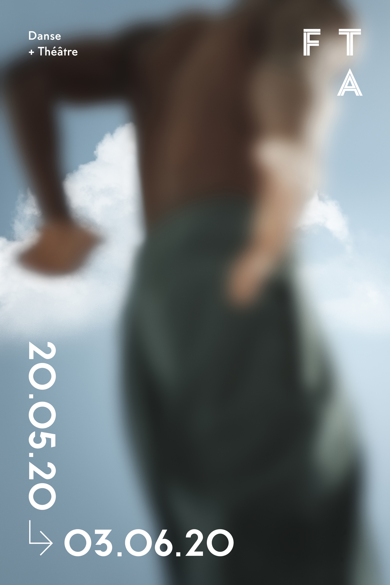 blurred picture of black male dancer against focused blue sky for the FTA by Maxyme G Delisle with Maison W
