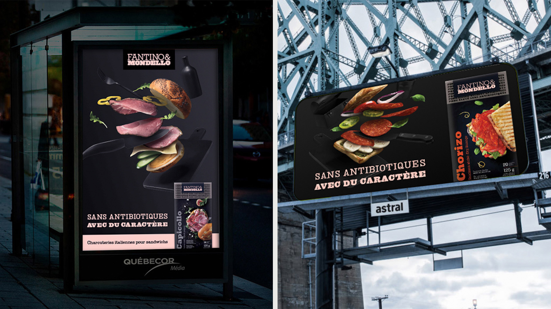 capicollo ham ad on bus stop photographed by Mathieu Lévesque for Fantino & Mondello with Rethink agency