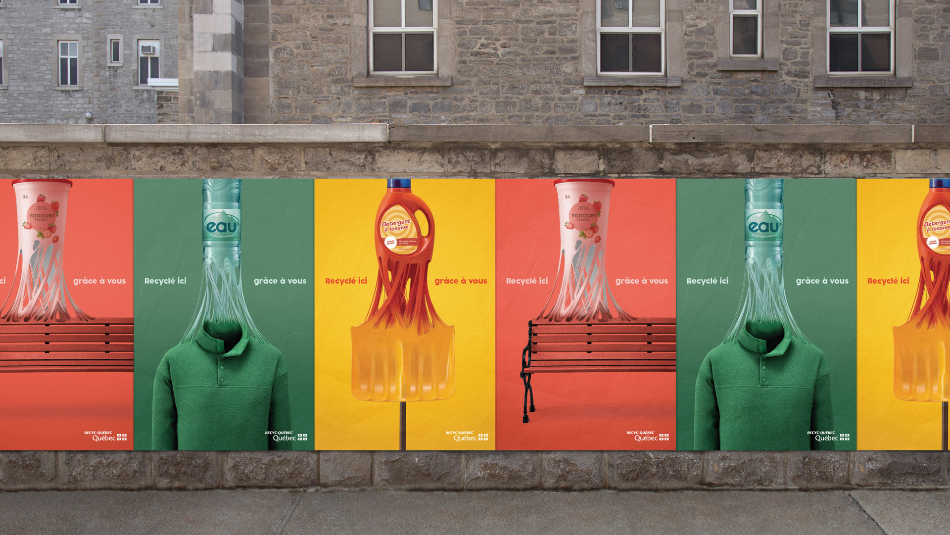 Mockup in street of Recyc-Quebec poster campaign by Mathieu Levesque