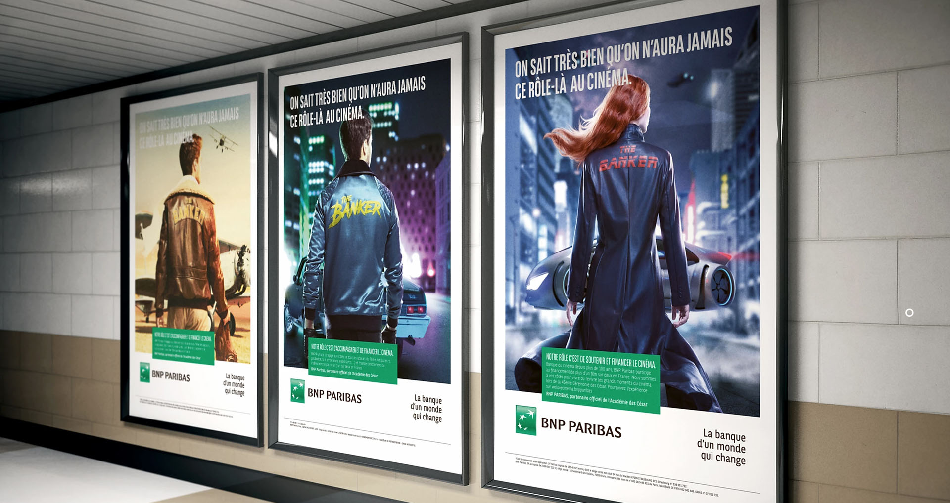 mockup of posters by Simon Duhamel for bank BNP Paribas