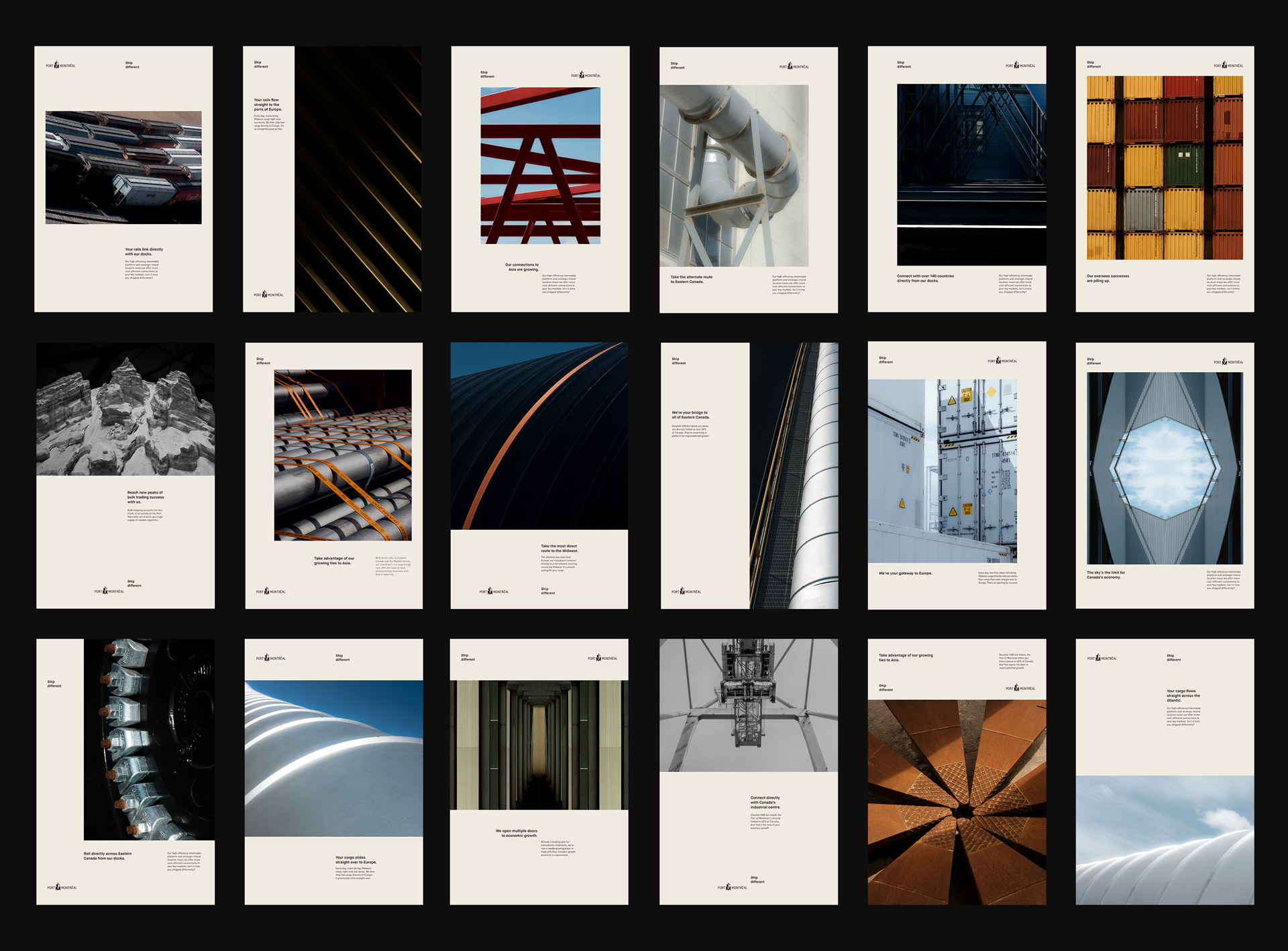 layout of all the advertising posters for Port of Montreal by Alexi Hobbs in collaboration with Ogilvy
