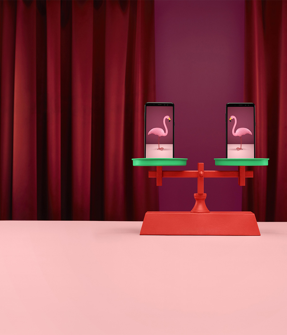 surrealist shot of flamingos on a scale by Simon Duhamel for Fizz