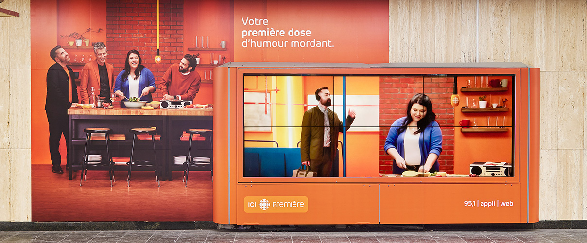 Metro ad campaign for ICI Première by Simon Duhamel at the McGill station
