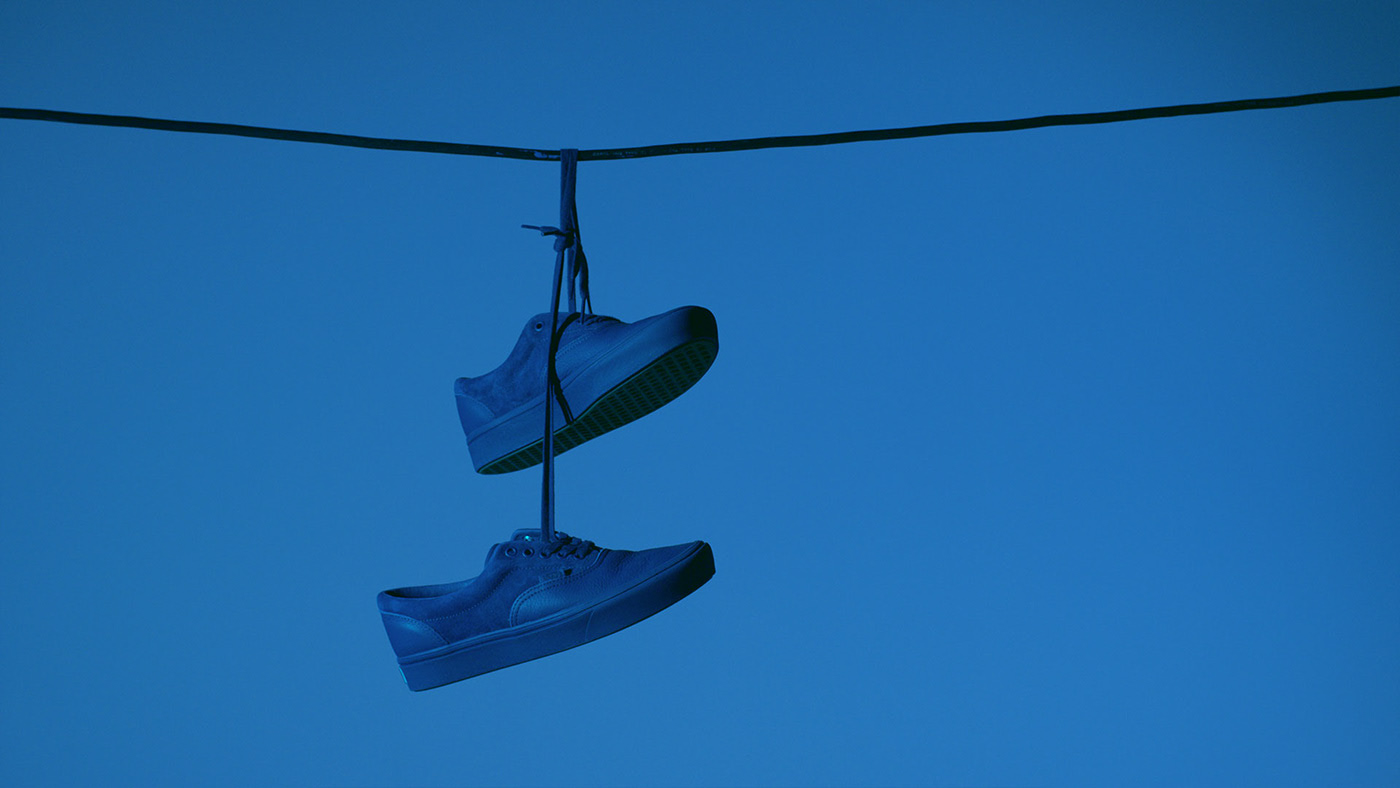 suspended Vans's shoe for OTH x VANS by Simon Duhamel