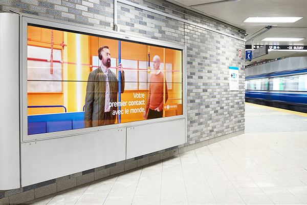 Metro ad campaign for ICI Première by Simon Duhamel at the Place-des-Arts station